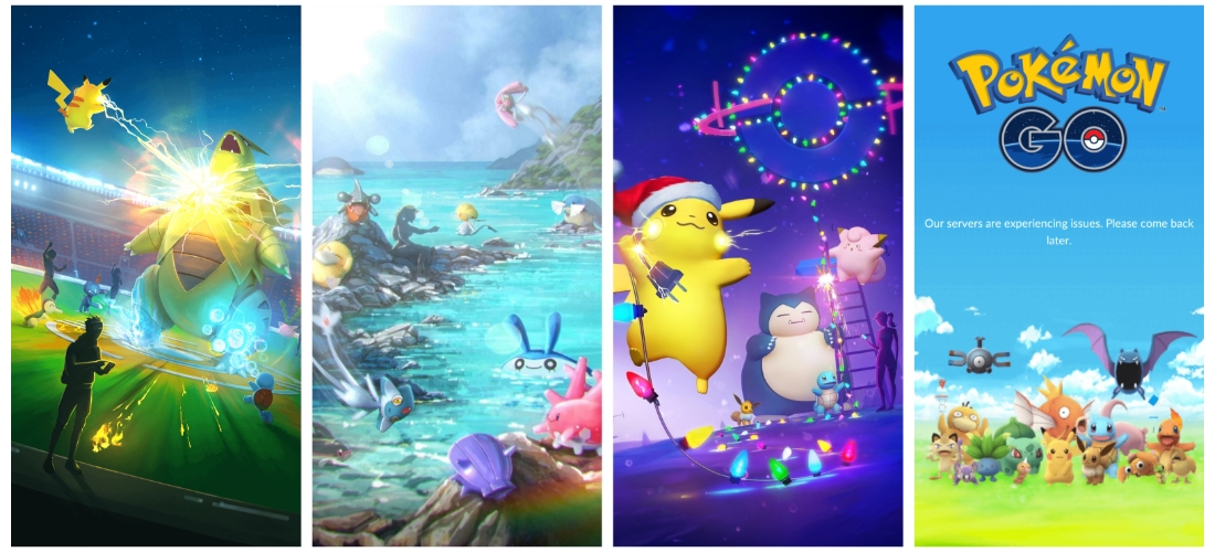 Some of the splash screens used by Pokémon GO since its launch.